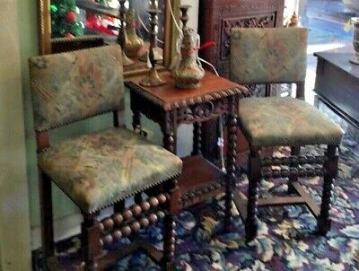 Vintage Spanish Revival Pair of Chairs.... Reupholstered