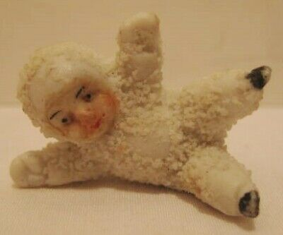 Old German Miniature Bisque Christmas Snow Baby falling down