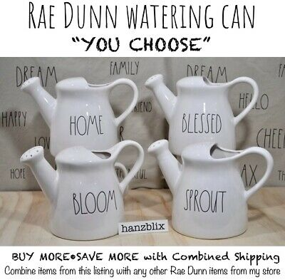 """Rae Dunn Watering Can Ceramic WATER GROW NOURISH Sprout """"YOU CHOOSE"""" HTF NEW """"19"""