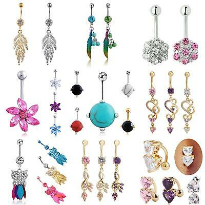 Belly Bars Drop Body Piercing Belly Button Ring Dangly Reverse Navel Bar Novelty