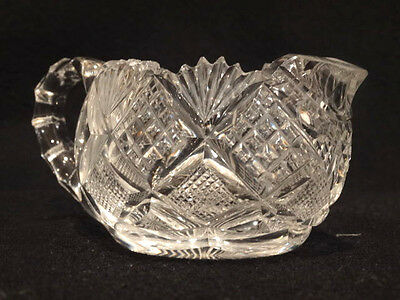 "Antique Small American Brilliant Clear 3"" Cut Crystal Creamer"