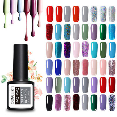 LEMOOC 8ml UV Gel Polish Nail Soak off Pure Tips Glitter Sequins Gel Varnish