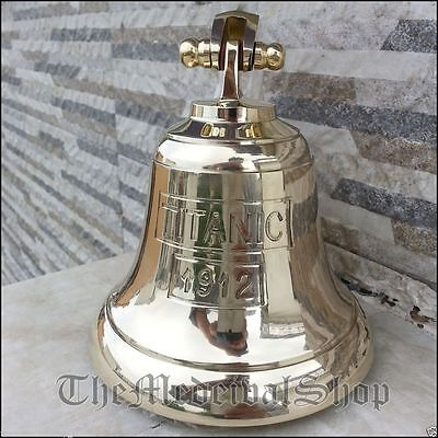 Solid Brass Marine Ship Bell Vintage Nautical Decor Wall Mounting Antique Style