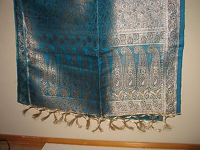 Beautiful Vintage Antique  Silk Shawl Scarf Wrap Blue With Gold Color Threads