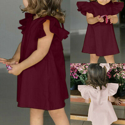 Summer Toddler Infant Baby Girls Fly Sleeve Solid Bow Dress Clothes Dresses