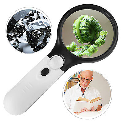 3 LED Light Handheld 45X Magnifier Magnifying Reading Glass Lens Jewelry Loupe