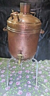 Antique Water Boiling Pot Hammered Copper Spout Fire Pit Heater Coal Wood Fuel