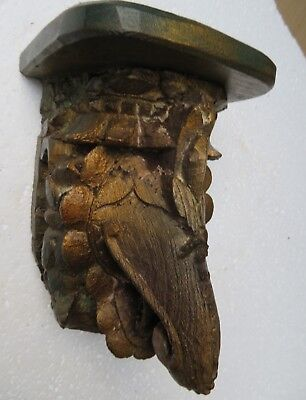 Architectural Carved Wood Corbel remanent reclaim decor Elephant wall Rack 1900