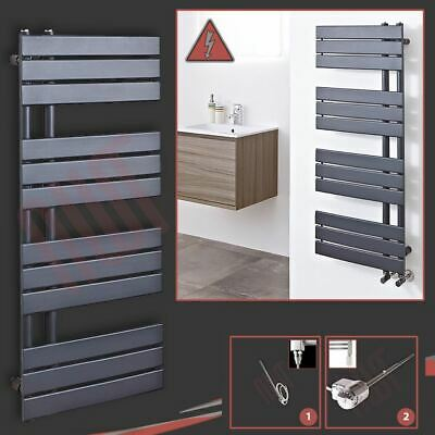 "500mm(w) x 1200mm(h) Pre-filled Electric ""Apollo"" Anthracite Towel Rail - 600W"