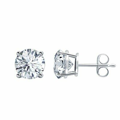 1 ct Round Cut White Diamond Solitaire Earrings 14k Gold Over Screw Back Studs