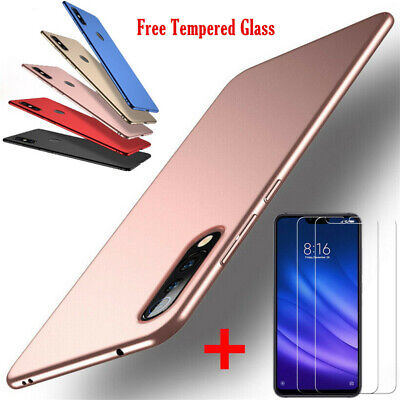 Matte Hard Case Cover + Tempered Glass For Xiaomi Mi A3 Lite 9 Redmi Note 8 Pro