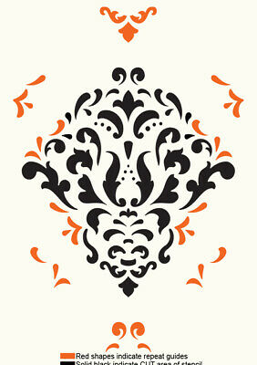 Damask Floral French Stencil Template Vintage Template Card making Paint DA45