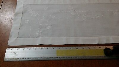Vintage Creamy White Cotton or Linen Embroidered Table Runner 44 X 11.5 Inches