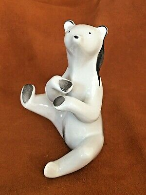 Art deco white little bear porcelain stamped vintage antique figurine