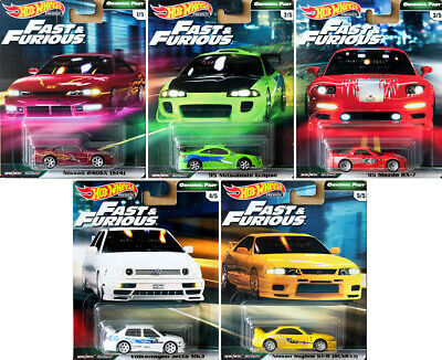 Fast & Furious Premium Original Fast Set 5 Modellautos 1:64 Hot Wheels GBW75
