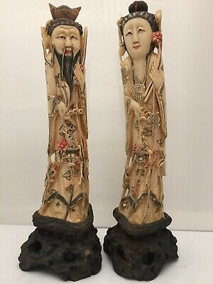 "Antique Chinese Pair Of Bovine Bone Hand Carved Figurines. 9 "" Tall. Marked"