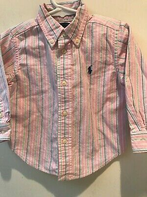 RALPH LAUREN Boy 18 Months PINK STRIPE OXFORD SHIRT - MSRP $35 - EUC