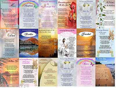 A5 Laminated Birthday/Anniversary/Remembrance/Grave/Memorial/Bereavement Card
