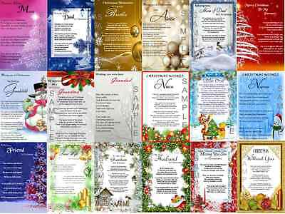 A5 Christmas Laminated Remembrance/Grave/Memorial/Bereavement Card (All Family)