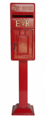 Royal Mail Replica ER Red Metal British Post Office Box/Wedding Card Box & Stand
