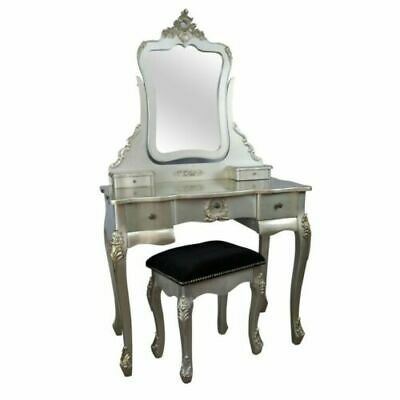 French Rococo Baroque Antique Gold Wood Dressing Table/Mirror & Black Stool