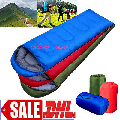 Large Single Sleeping Bag Schlafsack Warm Soft Adult Waterproof Camping QAg4