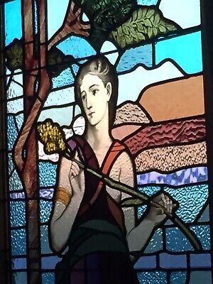 Stained Glass Leadlight Large Genuine Antique Federation Window Ceres Goddess