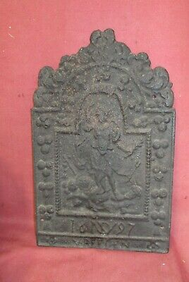 Early Antique Cast Iron Fireplace Fireback Fire Back 17th - 18th century .