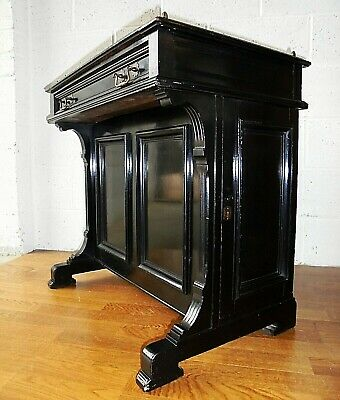 Antique Victorian Ebonised Black Davenport Writing Desk With Drawers