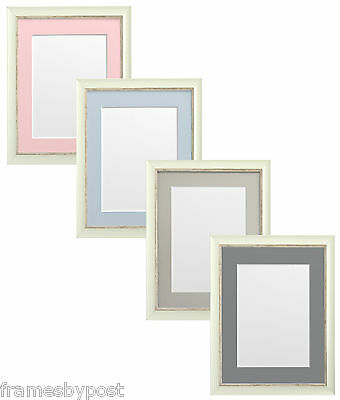 Distressed White Nordic Picture Photo Frames & Quality Blue Pink or Grey Mounts