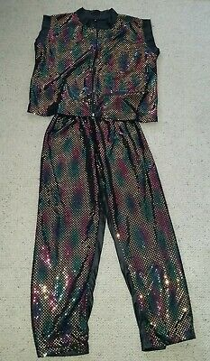 Multi coloured sequin 2 pc costume sz 8 / 10 adult sz 12 / 14 kids 80's or genie