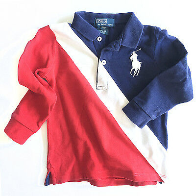 Ralph Lauren Polo Baby Boys Cotton Big Pony Polo, Red/White/Navy, 24 Months EUC!