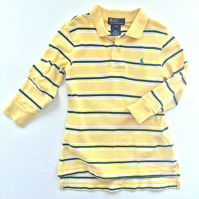 Ralph Lauren Polo Boys Kids Cotton Long Sleeve Striped Polo Shirt, 2T - EUC!
