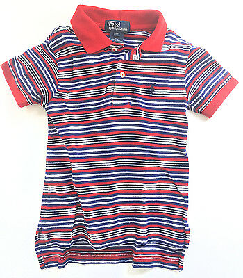 Ralph Lauren Polo Baby Boys Cotton Striped Polo Shirt, Red/Navy/White, 2T - EUC!