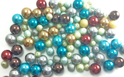 SALE Destash Sugared and Smooth Glass Pearl Beads Mixed Colors Sizes Lot #11