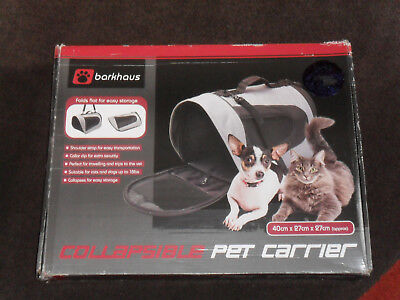 Boxed Barkhaus Collapsible Pet Carrier. Grey