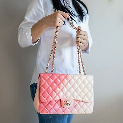 29ac29e0a11b VERIFIED Authentic Chanel Pink Degrade Quilted Lambskin Classic Jumbo Flap  Bag