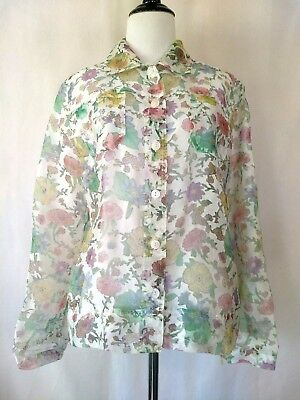 Bamboo Traders Womens White Multi Colored Sheer Long Sleeve Button Front Shirt S