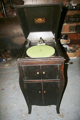 Victor Victrola VV-X fumed oak crank talking machine phonograph rebuilt motor