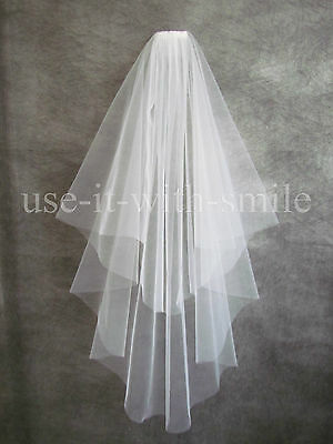 New Two Tier Ivory / White Fingertip Length Wedding Veil With Cut Edge Uk