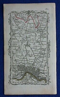 Rare original antique road map, LONDON, MIDDLESEX, HIGHGATE, M. Armstrong, 1776