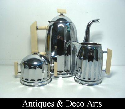 Art Deco Coffee Pot, Sugar & Cream Chrome-plated Metal & Bakelite Handles