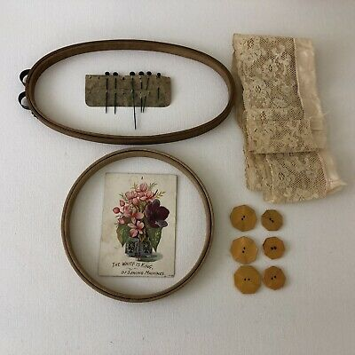 Antique Sewing Supplies Hoops, Lace, Celluliod