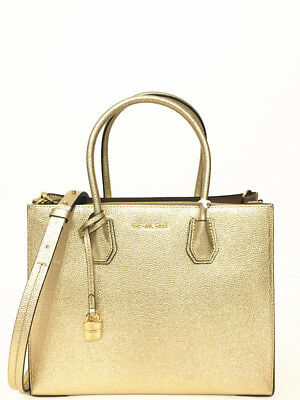 bff471df7a5b NWT MICHAEL MICHAEL KORS Mercer Large Convertible Leather Tote Bag Pale Gold