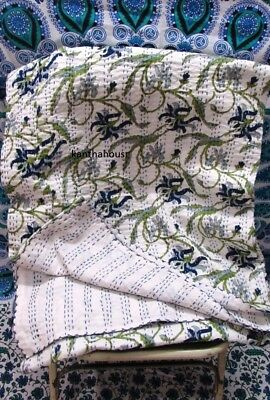 Kantha Quilt Indian Hand Work Kantha Decor Gudri Reversible Vintage Boho Bedding