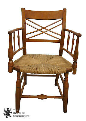 Early American Antique Maple Captains Arm Chair Woven Rush Seat Arts & Crafts