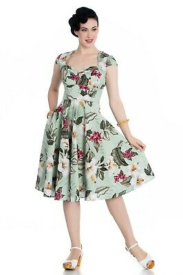 9f1d6a80052 Hell Bunny Hawaiian Tropical Hibiscus 50s Vintage Kalei Flare Swing Party  Dress