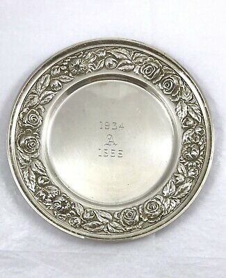 Stieff Repousse Rose Pattern Sterling Silver Bread & Butter Plate Dish