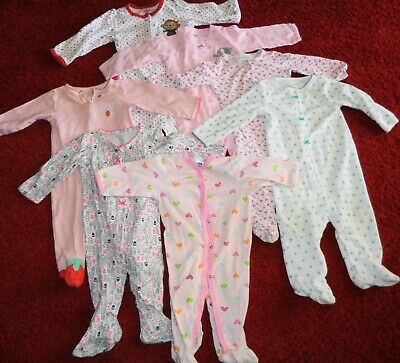 Lot Of Baby Clothes Carters Sleepers Footies 1 Pc Footed Pajamas Girls Size 9 Mo