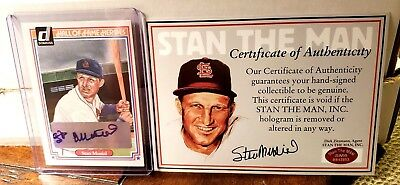 1983 Donruss Hall Of Fame Heroes Stan Musial Autograph With Stan The Man Coa